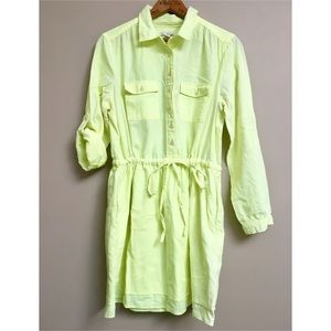 GAP neon yellow popover shirt dress